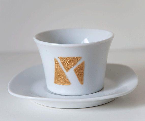 Taza dorada geométrica - taza para café solo