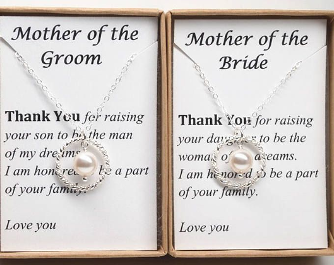 SET of 2 : Two Mother of the bride and groom gifts, sterling silver infinity with white pearl necklaces, mother of the groom gift, Mothers jewelry, mother in law  This elegant necklace set made with sterling silver infinity charm and white Swarovski pearl. The necklace finished with sterling silver chain with clasp. Simple yet stunning. The perfect gift!  The sterling silver infinity measures 20mm x 13mm.  You will receive 2 necklaces with 2 gift boxes & 2 note cards by purchase this list...