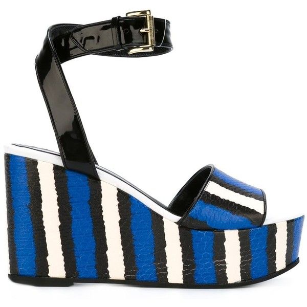 Just Cavalli Striped Wedge Sandals ($360) ❤ liked on Polyvore featuring shoes, sandals, black and white wedge shoes, blue wedge shoes, wedge heel sandals, black and white striped shoes and white and black shoes