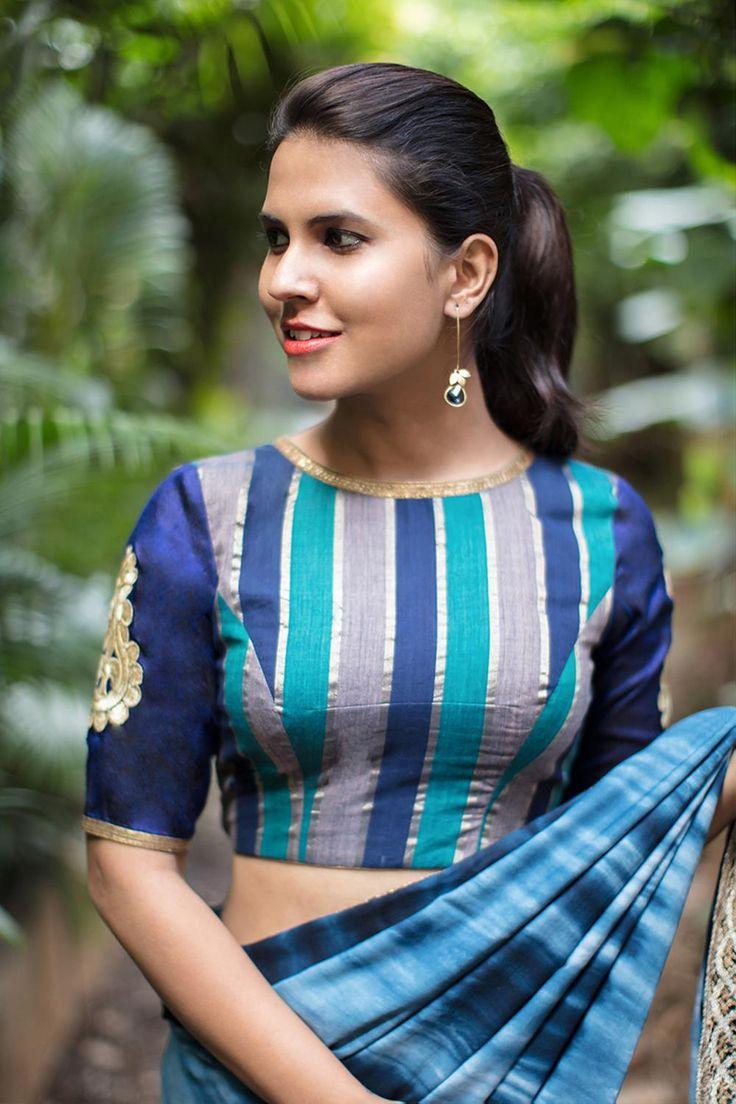 Navy blue Zari cotton blouse with applique on sleeve  #blouse #saree #houseofblouse #desi #indianwear #maroon #navy ble #grey #stripes #sleeve #applique