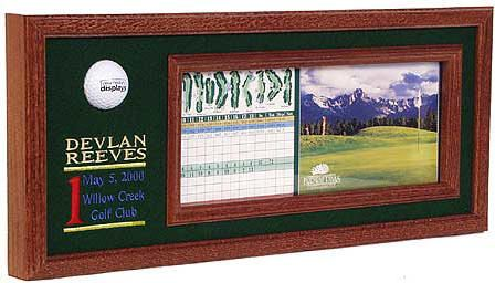 Northwest Gifts - Hole in One Plaque Personalized. A customer favorite for many years. Hand-stitched details of your hole in one while showing off your hole in one golf ball and scorecard. (http://northwestgifts.com/products/Hole-in-One-Plaque-Personalized.html)