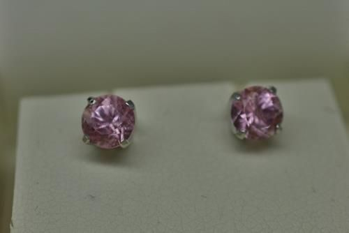 Californian Pink Tourmaline earrings in recycled 14 carat white gold