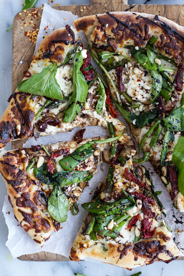 Spring Time Mushroom + Asparagus White Burrata Cheese Pizza with Balsamic Drizzle | halfbakedharvest.com
