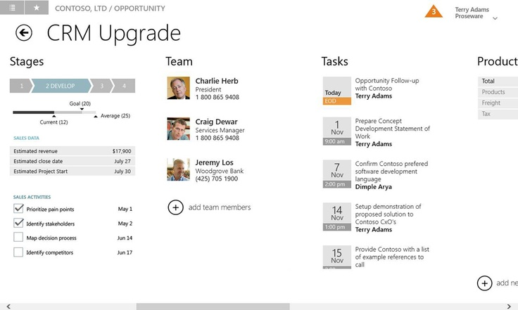 Working on an opportunity record in the Microsoft Dynamics CRM Windows 8 app