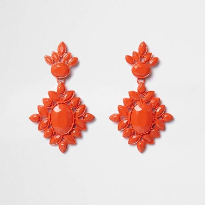 River Island Womens Orange jewel encrusted drop earrings