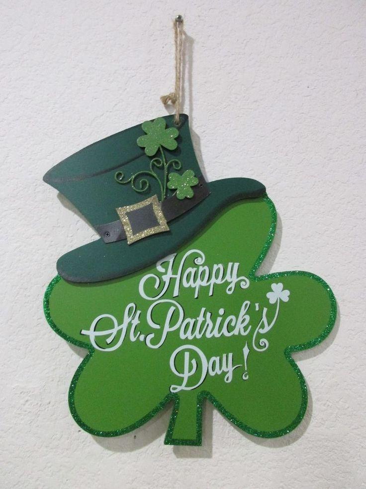 "Happy St Patricks Day Glitter Shamrock Hanging Sign Decoration Decor 12"" #Unbranded"