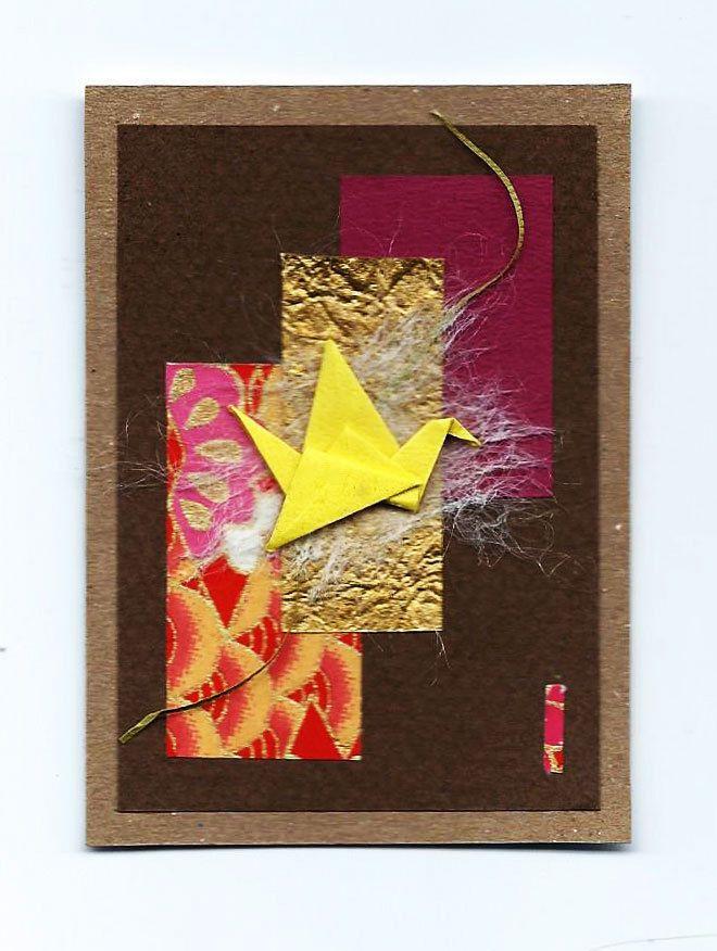 Original ACEO Origami Crane and Paper Collage-Miniature Art-Pocket Art-bird- #11 #Miniature