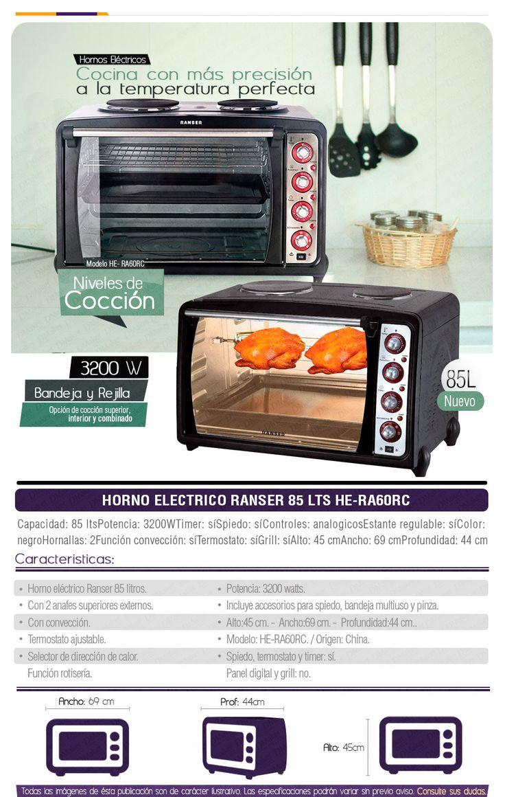 Horno Electrico Ranser 85 Lts- Spiedo + Anafe + Pizza - $ 3.499,00
