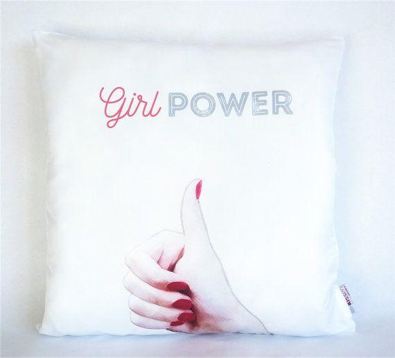 Girl Power Red Nails Pillow, Pillowcase, Sofa Pillow, Feminist Cushion, Feminist Decor, Pillow cover, Feminist gift