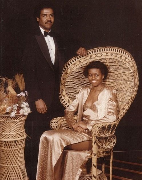 """10 Awkward Celebrity Prom Photos via @PureWow: Michelle Obama """"Yeah, I brought the First Lady to prom."""" --This guy's pickup line for the rest of his life."""