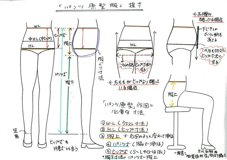 測定箇所はたったの3箇所。「股上寸法」は、椅子に座って横に定規を立てて測定します。加えてお持ちのパンツの脇丈を測れば採寸終了~明日から「前パンツ」の原型作...