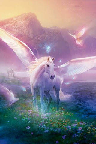 """""""THE UNICORN: The saintly hermit, midway through his prayers stopped suddenly, and raised his eyes to witness the unbelievable: for there before him stood the legendary creature, startling white, that had approached, soundlessly, pleading with his eyes. The legs, so delicately shaped, balanced a body wrought of finest ivory. And as he moved, his coat shone like reflected moonlight. High on his forehead rose the magic horn, the sign of his uniqueness"""" ~ Rainer Maria Rilke ♥ Art by Philip…"""