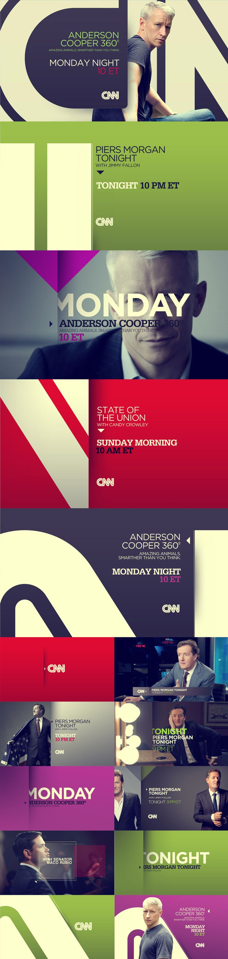 Solid blocks of color, shadows, clean type  CNN - Carla Dasso