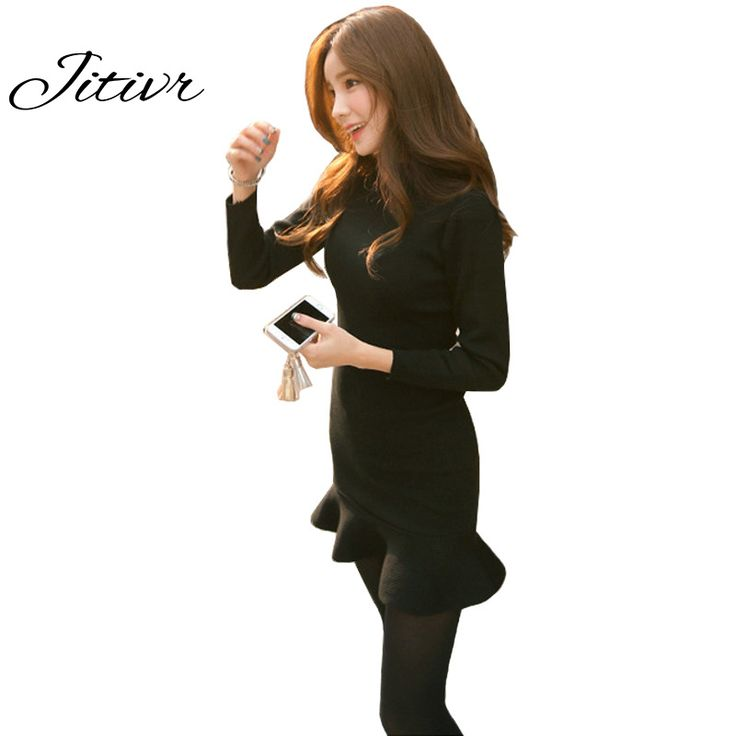 Cheap winter dress, Buy Quality dress dress dress directly from China dress for winter Suppliers:  Thick Winter Dress 2017  For Slim Trumpet  Women Dress Cute O-Neck Sexy Knitting Solid Vestidos For Ladies