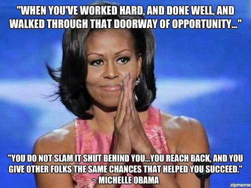 "Michelle Obama~love. Please, let her continue to be our First Lady. Don't let Ann Romney have that. ""This is hard."" Or my personal favorite....""Women should not expect equal pay. They should just be grateful to have a job."""