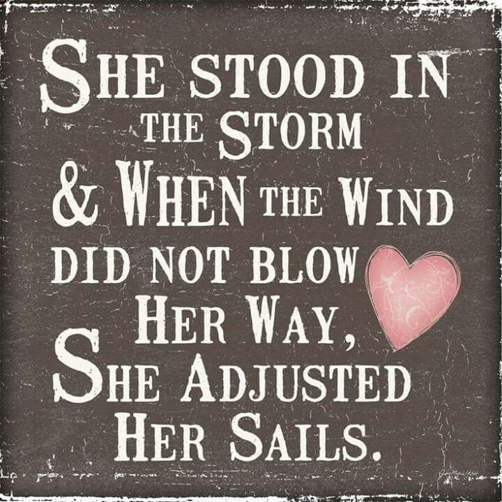 She stood in the storm & when the wind did not blow her way she Adjusted her sails.