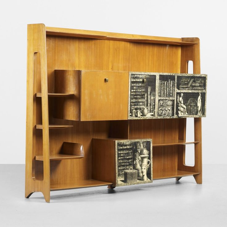 Gio Ponti and Piero Fornasetti; Ash, Lithographic Transfer-Printed Wood and Brass Wall Unit by Giordano Chiesa, c1955.