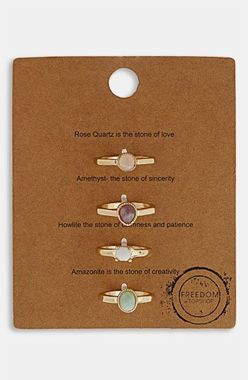 Topshop 'Message' Rings (Set of 4) available at Nordstrom