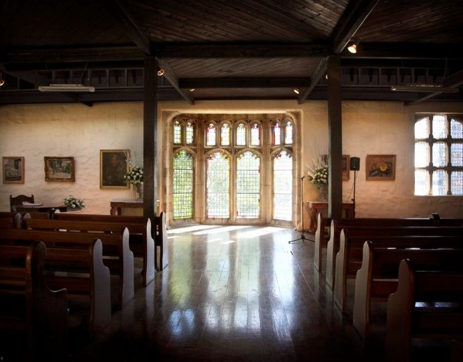 Montsalvat, Eltham. This is the Upper Gallery, where I will be walking down the aisle towards my groom. The stained glass windows are absolutely gorgeous.