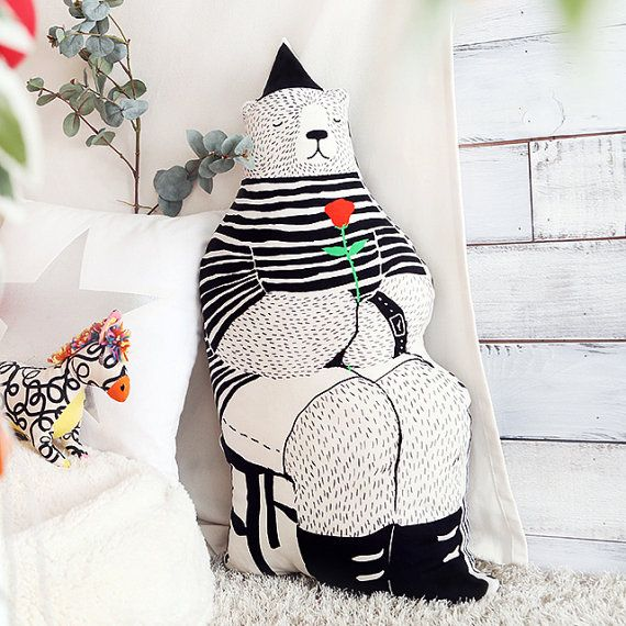 Rose Bear Pillow by DeliTime on Etsy