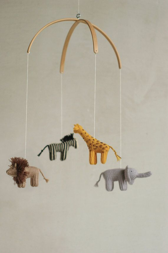 baby mobile jungle animals mobile safari mobile by Patricija