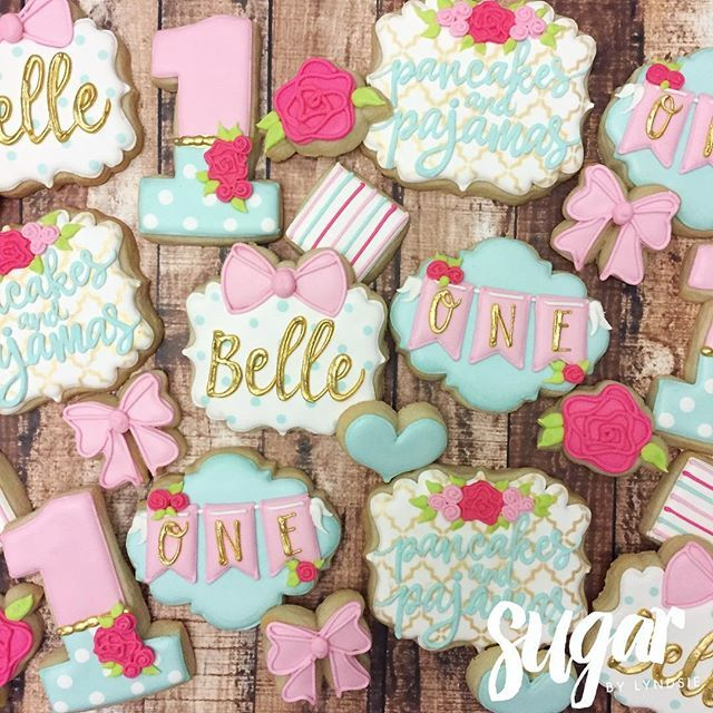 Cookies to match the decor of Belle's pancakes and pajamas first birthday party!  #customcookies #decoratedcookies #dfw #fortworth #dallas