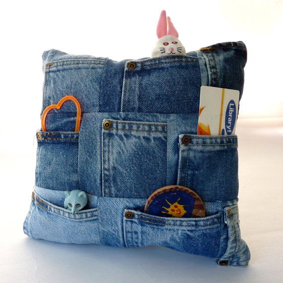 Recycled Denim Coin Pocket Treasure Pillow