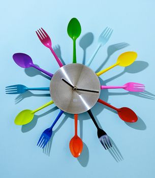 1. Rainbow Utensil Wall Clock, $40 | 35 Clocks That Look Amazingly Not Like Clocks