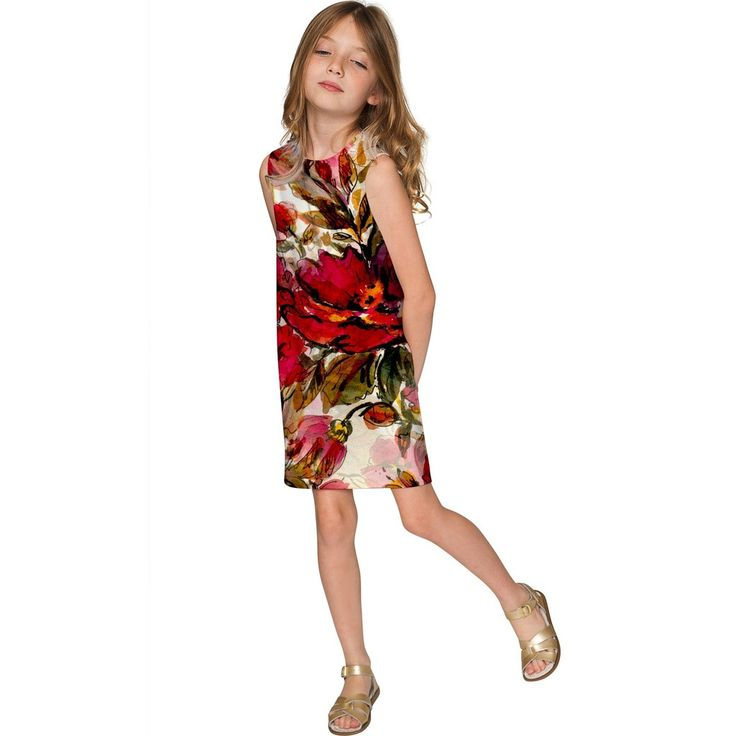 Free Spirit Adele Red Floral Boho Print Shift Dress - Girls