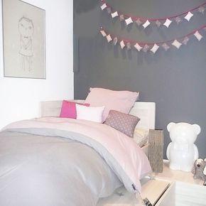 chambre,ado,enfant,rose,gris, housse de couette bi color Jacknaquunoeil