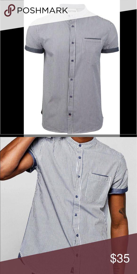Grandad Collar Shirt 100% cotton, brand new, the brand is boohoo ASOS Shirts Casual Button Down Shirts