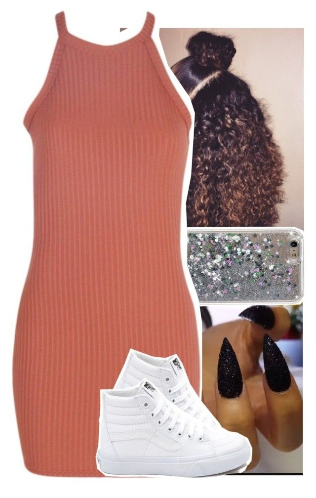 """Slim thick w/ yo cute ahh "" by theyknowtyy ❤ liked on Polyvore featuring Boohoo and Vans"