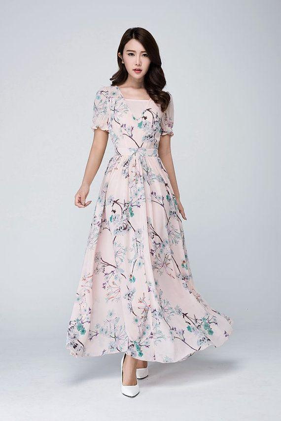 Vestido rosa de gasa vestido maxi vestido de las mujeres