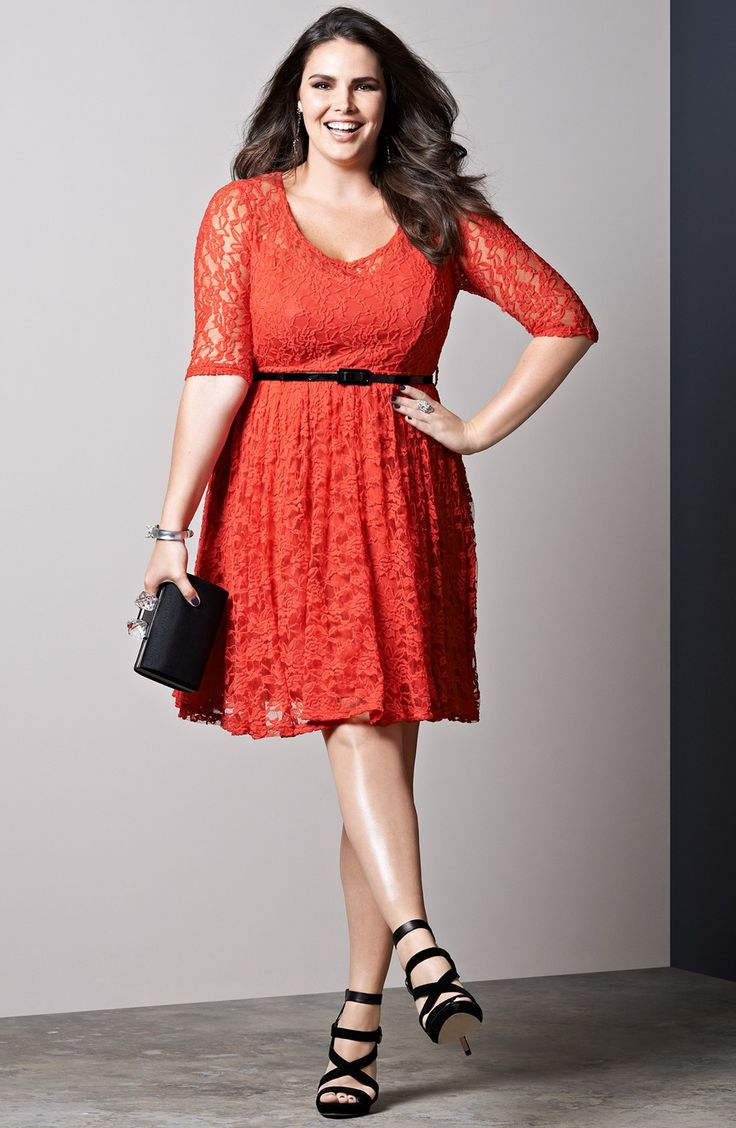 City Chic Belted Lace Fit Amp Flare Dress Plus Size Moda