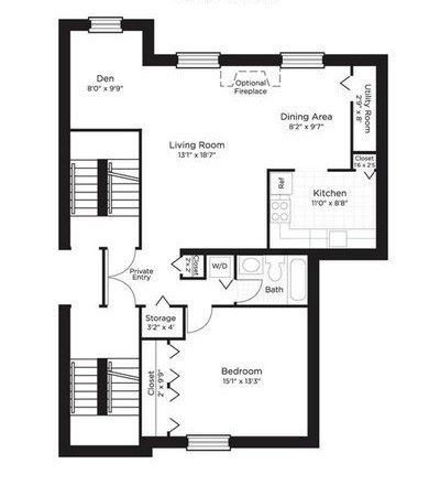 1 bedroom 1 bath den 900 sq ft apartment living for Apartment floor plans 1 bedroom with den