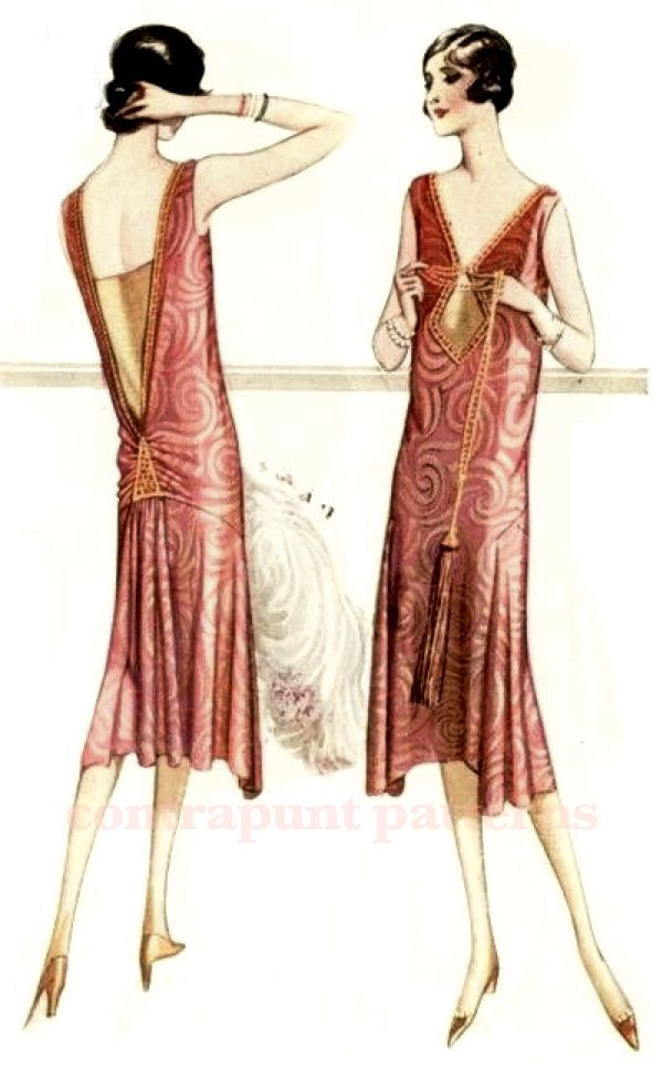 Classic and modern 1920s dress sewing pattern. V necklines, gathered low back. Downton Abby Mary style