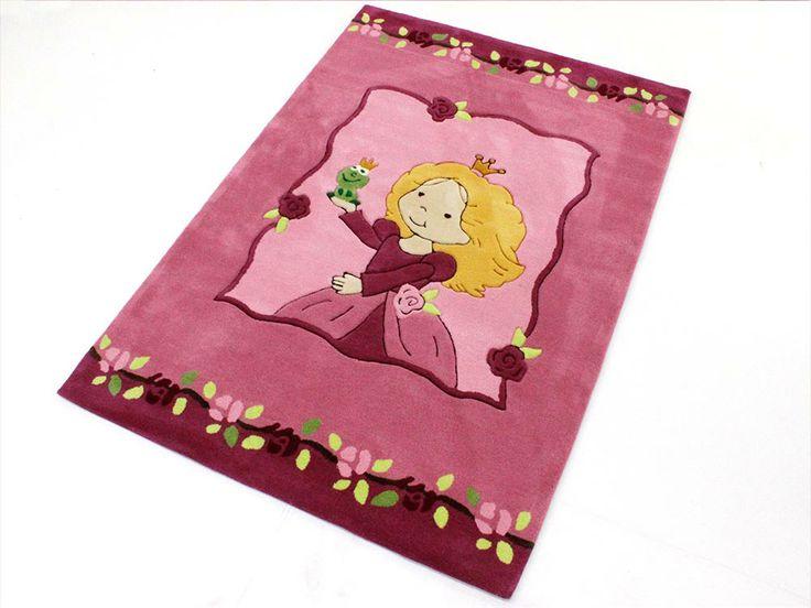 Froschkönig Handtuft Kinderteppich | Spielteppich Pink