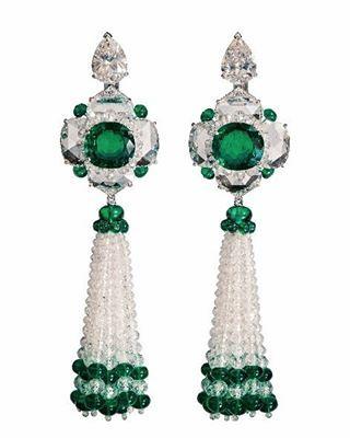 Earrings diamond, emerald, pearl