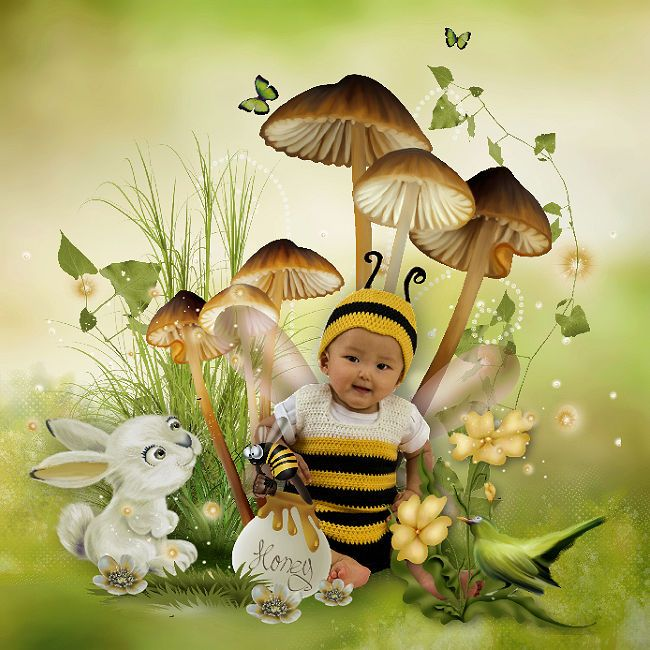 Honey Bee and Bee Happy by Pat Scrap Tube from the club. ©InadigitalArt2017. http://digital-crea.fr/shop/index.php…