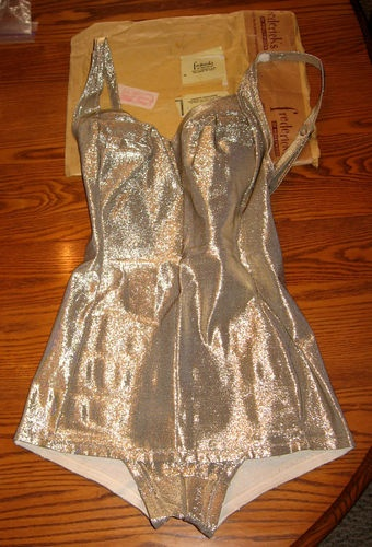 Vintage Frederick's of Hollywood Gold Lame Bathing Suit 1950s /1960s .*Soooo who is buying this for me for Christmas? ;-)*