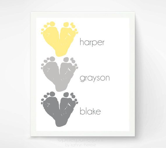 Gift for Mom Baby Footprint Art - Triplet Gift - Yellow Gray Hearts - Personalized Mother's Day Gift for Grandma - Birthday Gift for Mom