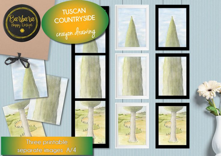 Printable Art Print - Tuscan countryside - Graphics - Tuscan landscape - instant download - di BarbaraHappyDesign su Etsy