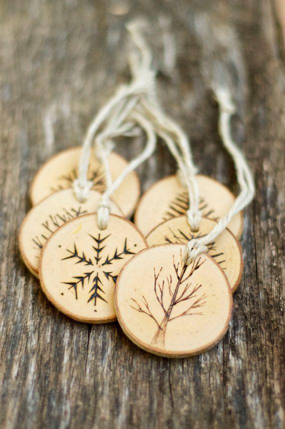 Décoration de Noël ornement - Noël - Noël - ornement - personnalisé - tranche de bois - rustique sapin de Noël - Woodland