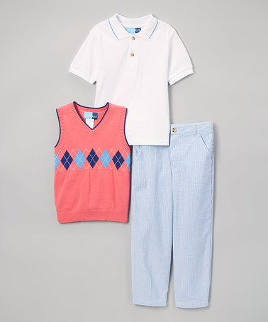 Loving this Coral Sweater, Polo Shirt & Seersucker Pant Set - Infant & Boys on #zulily! #zulilyfinds