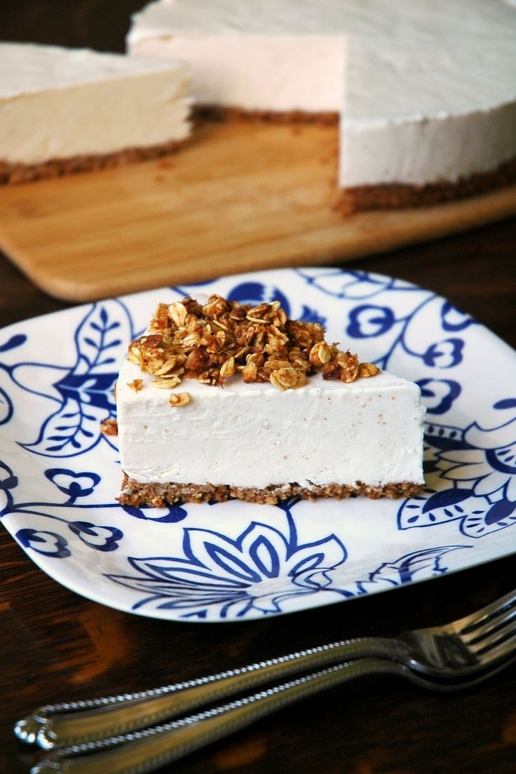 Almond Butter-Greek Yogurt Cheesecake with Coconut Granola Crust (A No-Bake Filling made with Chobani!)