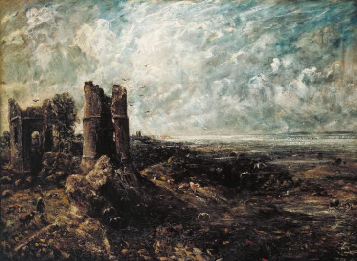 Artwork page for 'Sketch for 'Hadleigh Castle'', John Constable, c.1828-9 on display at Tate Britain. Constable made full-size sketches like this for many of his six-foot paintings. They allowed him to explore his ideas before committing them to the final canvas. The finished picture in this case was exhibited at the Royal Academy in 1829. The composition originated in a minute drawing Constable made on a visit to the ruins of Hadleigh Castle in Essex in 1814, but this painting was not…