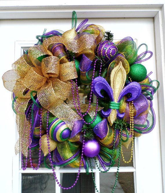 Mardi Gras Deco Mesh wreath with Fleur de Lis