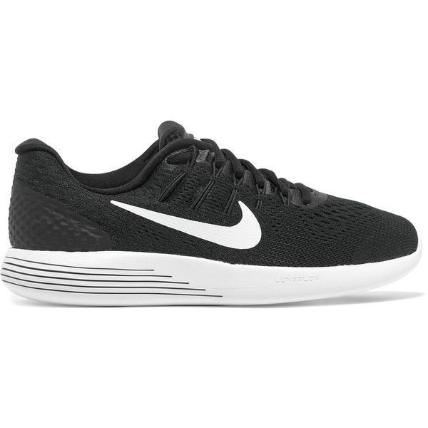 Nike Lunarglide 8 mesh sneakers ($120) ❤ liked on Polyvore featuring shoes, sneakers, black, breathable sneakers, black trainers, nike, black laced shoes and mesh sneakers