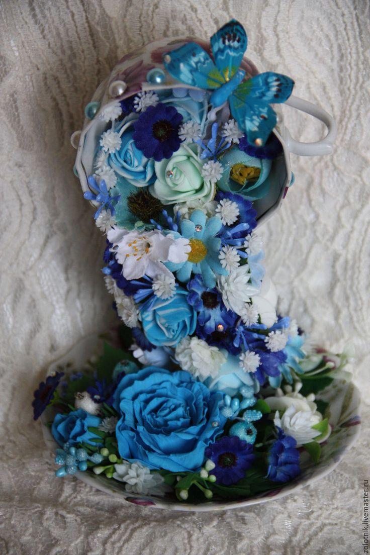 """Купить Интерьерная композиция """"Голубая мечта""""(""""парящая чашка""""). - синий, интерьерное украшение, интерьер загородного дома"""