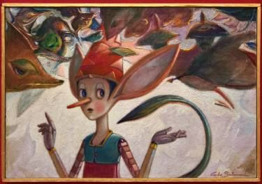 PINOCCHIO BETWEEN GUARDS AND THIEVES - ( Framed )